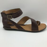 BOC Womens Leila Ankle Strap Sandals Brown Leather Zip Buckle Strappy 11M