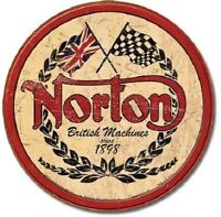 Norton Motorcycle Racing Logo Round Metal Tin Sign Garage Man Cave Decor