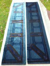 2pc Antique Art Nouveau Mohair Fabric Remnants Table Runners Designer Decor