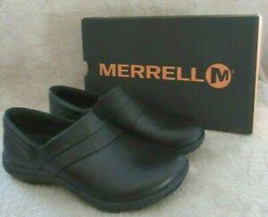 Merrell J31334 Dassie Couture Chaussures Cuir Noir à Enfiler US 8 W Eur 38.5 Nwb