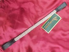 RUMANI Horse Leather BLING BROWBAND *Decorated With Diamante Chain And Pearls*