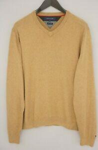 Men Tommy Hilfiger Jumper Beige Cashmere & Cotton Casual V Neck L XNA285