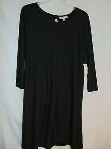 Women's Size M Elegant Black Dress w/ Cut Out Back Oval Neck Line Bobbie Brooks