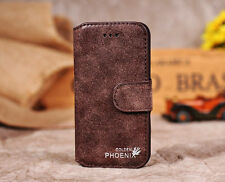 Genuine Leather Flip Credit Card Slot Stand Cover Case Wallet for iPhone Samsung Camel for Galaxy S4 I9500