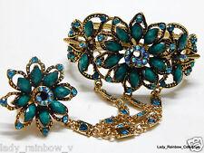 Antique Turquoise Flower Crystal Rhinestone Bracelet Bangle with flower ring set