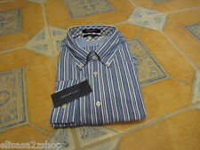 Mens Tommy Hilfiger S long sleeve shirt heritage Poplin 80's two ply jacks BLU