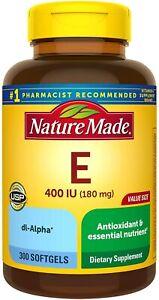 Nature Made Vitamin E 180 mg, 400 IU dl-Alpha Softgels, 300 Count Value Size...