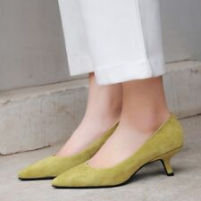 Women's Sheep Suede Kitten Heels Pointed Toe Casual Shoes Ladies Pumps Size4.5-8