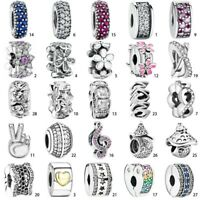 Crystal S925 Silver Charm Spacer Pendant Bead Fit European Bracelet Bangle Chain