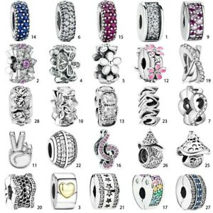 Crystal S925 Silver Charm Spacer Bead Pendant Fit European Bracelet Bangle Chain