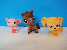 3 Littlest Pet Shop Pets, Brown Horse, Pink Mouse, Tan Puppy