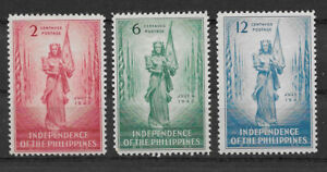 PHILIPPINES , 1946 , PHILIPPINE INDEPENDENCE , SET OF 3 STAMPS , PERF , VLH