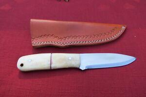 CUSTOM HANDMADE 1095 HIGH CARBON STEEL HUNTING KNIFE WITH WHITE BONE HANDLE