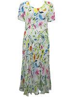 Crinkle Kleid Sommerkleid Maxikleid Blumen mehrfarbig GR. S M L 4XL #22