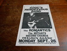 Sonic's Rendezvous Band ORIGINAL 70s DETROIT FLYER Mon Sept 26 @ Second Chance