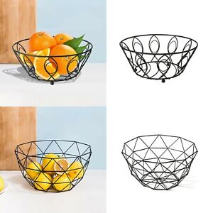Black Metal Fruit Basket Holder Kitchen Dinning Table Decoration Fruit Bowl