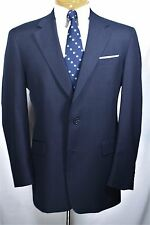 Vtg BURBERRY BLUE PINSTRIPE 100% WOOL 2 Pc SUIT 40 42 R 35 x 29