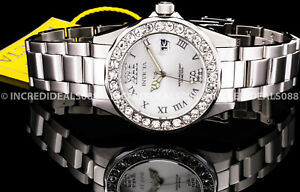 NEW Invicta Women PRO DIVER CRYSTAL ACCENTED Silver Dial Bracelet 38mm SS Watch