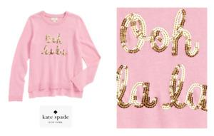 Kate Spade Girls Ooh La La. Pink Knit Sweater NEW Tags Size 8 $68