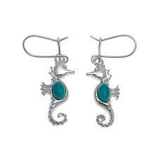 Turquoise and Sterling Silver Sea Horse Earrings