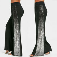 Women Casual Loose Wide Leg Pants Gradient Sequins Sports Straight Long Trousers