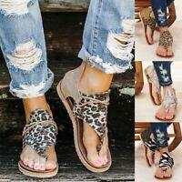 Womens Leopard Flat Sandals Clip Toe Summer Beach Flip Flop Gladiator Shoes Size
