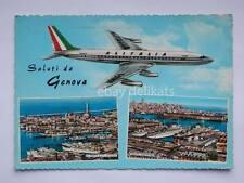 Saluti da GENOVA aereo Alitalia porto vecchia cartolina