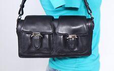 COLE HAAN Small Black Leather Shoulder Hobo Tote Satchel Purse Bag