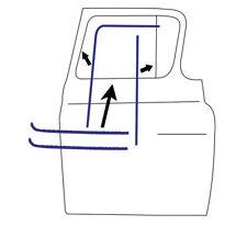 55-59 Chevy Door Beltline Molding Glass Run Channel Weatherstrip Window Seal Kit