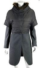 BRUNELLO CUCINELLI $5,490 Gray Marmot Fur Collar Puffer Vest Convertible Coat 44
