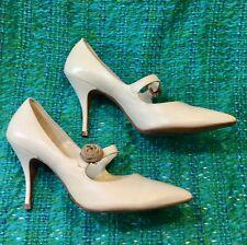 1940s Vtg Rare Jacqueline design Ivory beige rose High Heel shoe Mary jane Sz 7
