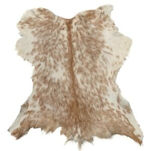 Genuine Goat Skin Hair-On Natural Leather Hide 4 Sq. ft. (White & Golden Brown)