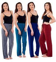 New Ladies Women Straight Leg Fashion Melange Comfort Waist Stretch Trousers