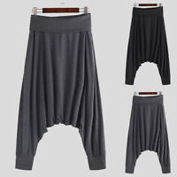 Men's Loose Casual Harem Pants Cotton Loose Indian Beach Yoga Trousers New S-5XL