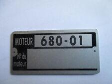 Typenschild Renault R12 Gordini Motor Schild moteur 807-20 tag plaque s45