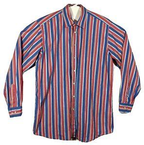 Etro Milano Fruit Rainbow Pink Striped Shirt Mens Sz Italy 42 ~ US XL Nordstrom