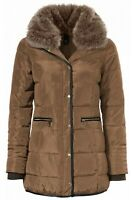 Glossy Camel Fitted Quilted Jacket Length Coat with Removable Fur Collar 20