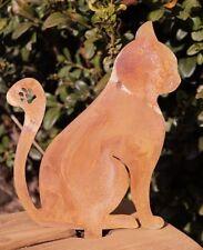 Edelrost Katze zum Stecken klein 14 x 11 cm Kurzstecker Tierfigur Gartendeko