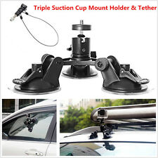 Triple Suction Cup Mount Holder+12'' Safety Lanyard & Tether For Car Camera DVR
