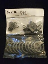 NIB New IKEA Syrlig Curtain Rings with Clips and Hooks 10 Pack Grey NIB