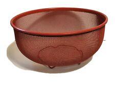 "10"" Decorative Red Mesh Strainer Bowl Drainer Vegetable Sieve Colander"