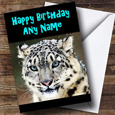Stunning Snow Leopard Personalised Birthday Greetings Card