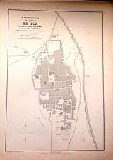 PERÚ,plano de la ciudad de ICa.Paz Soldán.Geografía del Perú 1865.