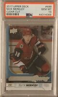2017 2018 UPPER DECK Nick Merkley YOUNG GUNS CLEAR CUT ACETATE RC ROOKIE PSA 10