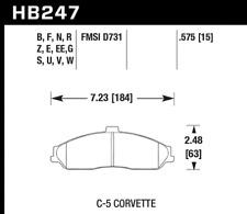 Hawk Disc Brake Pad Front for Chevrolet, Cadillac XLR, Pontiac GTO / HB247W.575