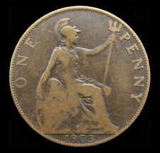 More details for edward vii 1903 bronze penny - open 3 in date - vg