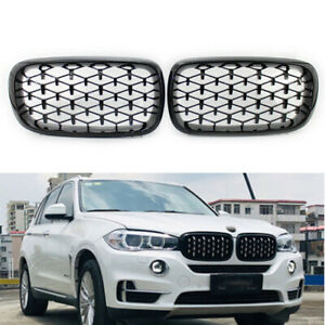Fits BMW X5 F15 2014-2016 Grille Glossing Black Diamond Meteor Style Pair