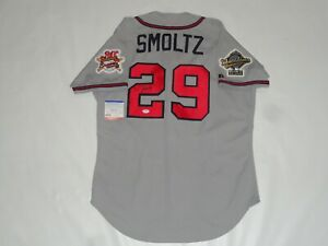 JOHN SMOLTZ SIGNED #29 ATLANTA BRAVES 1995 WORLD SERIES JERSEY PSA COA LICENSED