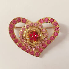 Brooch & Pendant Charm Pin Br1144 New Heart European Style Pink Golden Crystals