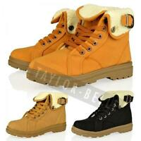 WOMENS LADIES ARMY COMBAT FLAT GRIP SOLE WINTER FUR LINED ANKLE BOOTS SHOE SIZE